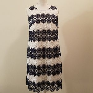 NWT Charter club navy and white lace dress